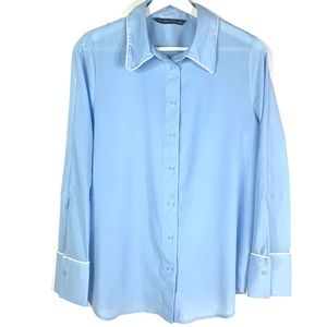 Zara blue contrasting piping button down blouse